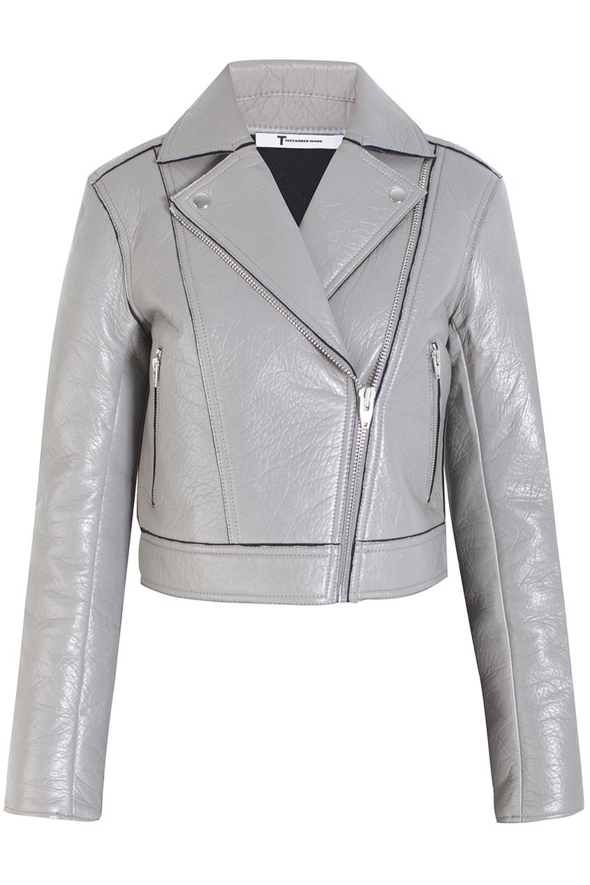 Кожаная куртка T by Alexander Wang. Цвет: серый, бежево-серый